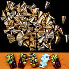 Nail Art 100pcs 3D Metal Cone Alloy Silver/Gold Punk Style Bullet Shape Rivet