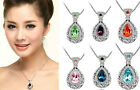 1pc Austria Crystal Rhinestone Drop Vintage Style Pendant Necklace Chain