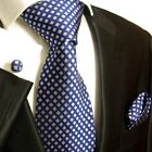 321CH/ Silk Necktie Set by Paul Malone . Blue and Silver
