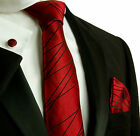 595CH/ Silk Necktie Set by Paul Malone .  Red and Black