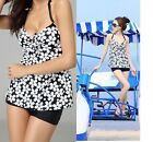 halter Floral Flower Padded Tankini Swimwear Beach Bathing Swimsuit Tops &Shorts