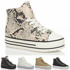 WOMENS LADIES LACE UP PLATFORM FLATFORM HIGH HI TOP PUMPS TRAINERS SHOES SIZE