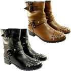 WOMENS STRAP STUD BIKER SHORT STUDDED RIDING ANKLE CALF BOOTS LADIES NEW 3-8