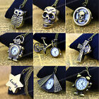 Retro Vintage Style Mens Ladies Boys Girls Necklace Chain Pocket Watch OWL SKULL