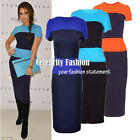 dp39 Celebrity Style Colour Block Bodycon Bandage Fitted Pencil Midi Dress