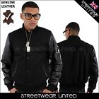 Aviatrix College Baseball Half Leather & Wool Varsity Celtic Jacket Black