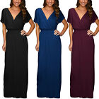 Short Sleeve Long Maxi Jersey Cocktail Party Evening Dress Elastic Waist ed4158