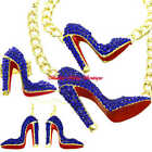 Hollywood Starlet Blue Crystal Gold HIGH HEEL STILETTO SHOE Statement Jewelry