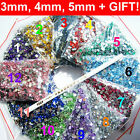 3mm 4mm 5mm HIGH QUALITY RHINESTONES GEMS CRYSTALS FLAT BACKED 12 COLOURS  UK!
