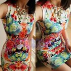 Korea Womens Chiffon Retro Pinup Floral Bodycon Sleeveless Party Mini Dress Slim