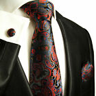 885CH/ Silk Necktie Set by Paul Malone . Black, Blue, Red Paisley