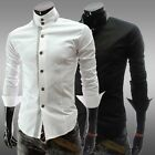 Black/White Men's Slim Fit Formal Dress Shirts Casual Long Sleeve T-Shirt XS-L