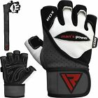 RDX Leather Power Lifting Gloves Body Building Gym Long Straps Training Fitness
