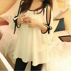 New Women Sexy Off Shoulder 3/4 Sleeve Ribbon Blouse Loose Chiffon Tops S M L XL