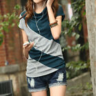 New Womens Cotton Batwing Sleeve Cowl Neck Casual Splicing Top T-shirt L XL