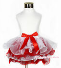 XMAS Christmas Pure White Hot Red Girl Petal Pettiskirt & Hot Red Bow NB-8Year