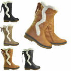 NEW WOMENS FLEECED LADIES FLAT GRIP SOLE WINTER SNOW ZIP UP CALF BOOTS SIZE 3-8