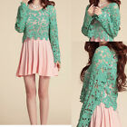 Womens Girls Chic Long Sleeve Crochet Hollow Floral Cover Tops Blouses