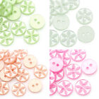 100PCs Resin Sewing Buttons Flower Pattern Round 2 Holes Srapbook Card 11mm