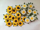 25 YELLOW WHITE DAISY FLOWER (no stem) CARD MAKING SCRAPBOOKING EMBELLISHMENTS