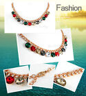 18K Gold Plated Colorful Crystal Necklace NP2042 Free Gift Pouch