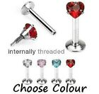 Internal Thread CZ Heart Tragus, Labret, Monroe Lip Piercing Bar 1.2mm 8mm (E33)
