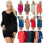 Womens Chunky Knitted Fluffy Furry V Neck Jumper Dress Top Size 8-10-14 S M L XL