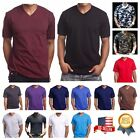 Men HEAVY WEIGHT V NECK T SHIRT Big  Tall Hipster Plain Camo Casual Gym S 5X