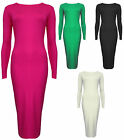 Plain Bodycon Midi Dress for Womens Long Sleeved Black Green Cream Pink New