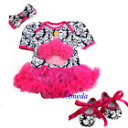 Baby Hot Pink Cupcake Damask Romper Pettiskirt Bodysuit Shoes Party Dress 0-18M