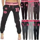 New Womens Ladies Baseball College Varsity Fleece Joggers Jogging Bottoms Size 8