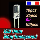 215RR# LED 3mm rouge 640nm cylindrique long - de10, 25 ou 100pcs * red flat TOP