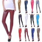 Women Faux PU Leather High Wrist Stretch Leggings Pants Tights Trousers XS-L