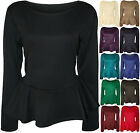 New Womens Plus Size Plain Long Sleeve Flared Ladies Peplum Frill Top 16 - 26