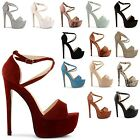 NEW LADIES HIGH HEEL STILETTO BUCKLE ANKLE STRAPPY OPEN TOE SANDALS SIZES UK 3-8