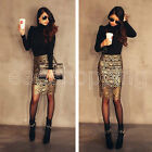 S/M/L Sexy Party Gold Hollow Crochet Bodycon Black Lining Pencil Skirt Clubwear