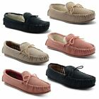 New Ladies LodgeMok Real Leather Soft Suede Moccasin Winter Slippers Size UK 3-8