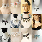 Handmade Vintage Gothic Steampunk Lace Velvet Choker Crystal Necklace Jewellery