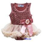 Newborn Baby Girls Rosettes Tea Rose Bodysuit Romper Pettiskirt Party Dress 0-18