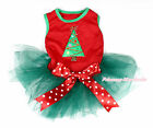 XMAS Christmas Tree Hot Red Sleeveless Bow Teal Green Skirt Pet Dog Dress Outfit