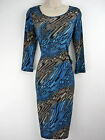 NEW KALEIDOSCOPE TEA DRESS ABSTRACT BLUE BROWN RRP £59 10 12 14 16 18 20 22
