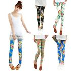 Fashion Women Vintage Retro Cotton Blend Flowers  Leggings Tights Pants Trousers
