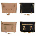 SKELETON HANDS STUDDED CLUTCH HANDBAG SKULL FAUX LEATHER ENVELOPE SATCHEL POUCH