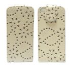 BLING DIAMANTE GLITTER FLIP PU LEATHER POUCH CASE IN WHITE FOR APPLE IPHONE 5C