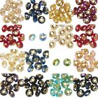 10 Big European Faceted Glass Round Rondelle Beads W/ Large Gold Grommet Hole