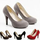 Black/Brown/Grey/Red Kitten Suede Pumps Winter High Heels Ladies Court Shoes