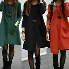 New Women's Chic Loose Irregular Crew Neck Solid Long Sleeved Jacket Coats Dress