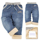 1 NWT Girls Boys Baby Denim Washed Jeans Winter Fleece Pants Trousers