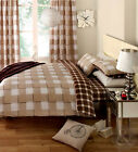 Gingham Check Duvet Cover + Curtain + Fitted Sheet - Cream Brown Bedding Bed Set