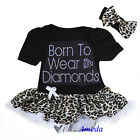 Baby Black Leopard Rhinestone Born To Wear Diamonds Bodysuit Pettiskirt Romper
